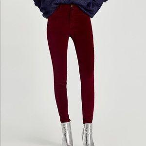 ZARA High Waist 5-Pocket Velvet Jeggings Pants NEW